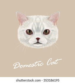 Vector Illustrated Portrait of Domestic cat. Cute face of white cat with delicate grey stripes