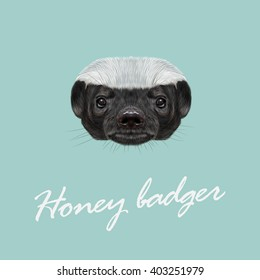 Vector Illustrated portrait of Honey badger. Cute face of ratel on blue background.
