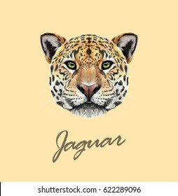 Vector Illustrated portrait of Jaguar. Cute fluffy face of Big cat with green eyes on tan background.