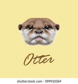 Vector Illustrated Portrait of Otter. Cute face of  aquatic Otter on yellow background.
