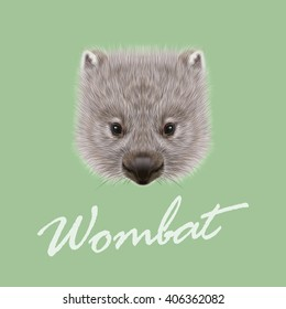 Vector Illustrated portrait of Wombat. Cute face of Australian mammal on green background.