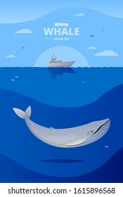 Vector illustrated poster with big white whale in the sea, fishing boat and place for your text. Siutable for poster, banner, cards.