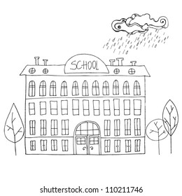 vector illustrated School building