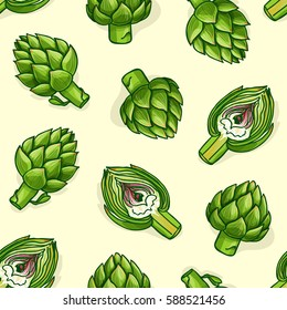 Vector illustrated seamless pattern with vegetables. Pop art style greenery background with artichokes