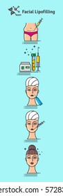 Vector Illustrated set with cosmetology facial lipofilling. Infographics with icons of medical cosmetic procedures.