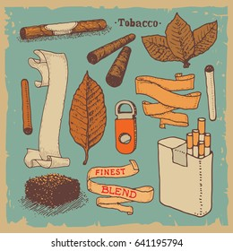 Vector illustrated tobacco products