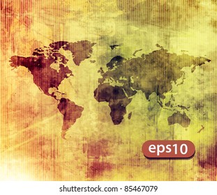 vector illustrated world map with white texture background.