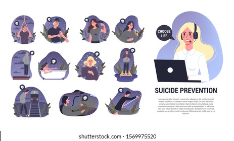 Vector illustratiion of diffrent suicide methods set. Sad people think about suicide. Depressed person with suicidal thoughts. Mental health and psychological assistance concept.