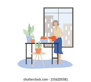 Vector illustratiion of an old woman wattering her home garden. Old female character look after plants. Retired lifestyle concept.