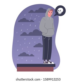 Vector illustratiion of sad man think about suicide by jumping off the building roof. Depressed person with suicidal thoughts.