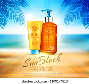 Vector illustratin. 3d bottles  with sun protection cosmetic products. Sunblock cream and tanning oil spray bottle. Template, for magazine or ad,brochure, flyer, banner