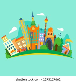 Vector illustratiom of a flat city island.