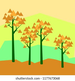 Vector illustratiom geometric landscape with maple trees orange on yellow with trangle leafes  maple trees in flat geometric style landcape with geometric orange maple trees