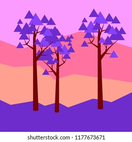Vector illustratiom geometric landscape with maple trees purple on pink with trangle leafes  maple trees in flat geometric style landcape with geometric purple maple trees