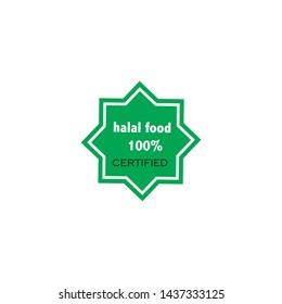Vector illustration. 100% halal food certified logo.