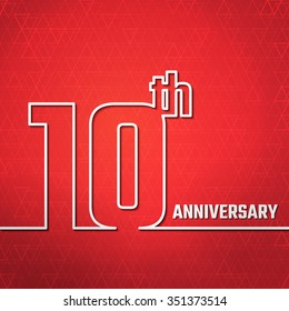 Vector Illustration of 10th Anniversary Outline for Design, Website, Background, Banner. Jubilee silhouette Element Template for greeting card