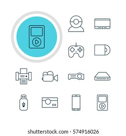 Vector Illustration Of 12 Accessory Icons. Editable Pack Of Media Controller, Video Chat, Smartphone And Other Elements.