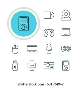 Vector Illustration Of 12 Accessory Icons. Editable Pack Of Loudspeaker, Sound Recording, Video Chat And Other Elements.