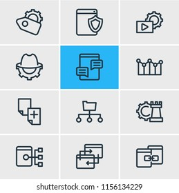 Vector illustration of 12 advertisement icons line style. Editable set of SEO whitehat, adwords campaign, directory submission and other icon elements.