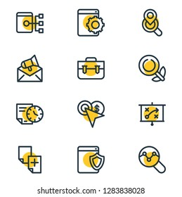 Vector illustration of 12 advertisement icons line style. Editable set of web security, organic search, sitemap and other icon elements.
