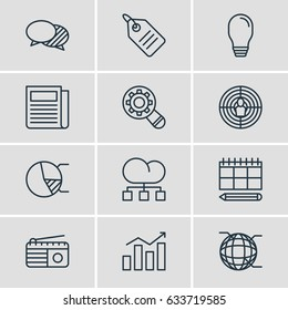 Vector Illustration Of 12 Advertising Icons. Editable Pack Of Discussing, Statistics, Cloud Distribution And Other Elements.