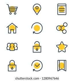 Vector illustration of 12 app icons line style. Editable set of location, unlock, star and other icon elements.