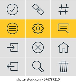 Vector Illustration Of 12 App Icons. Editable Pack Of List, House, Topic And Other Elements.