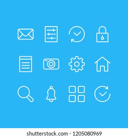 Vector illustration of 12 application icons line style. Editable set of search, history, thumbnails and other icon elements.