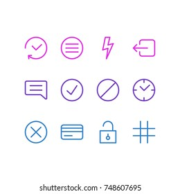 Vector Illustration Of 12 Application Icons. Editable Pack Of Flash, List, Clock And Other Elements.