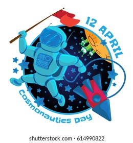 Vector illustration to 12 April Cosmonautics Day. An astronaut or cosmonaut with a red flag in outer space and flying rocket isolated on white background. Can be used for design your publications.