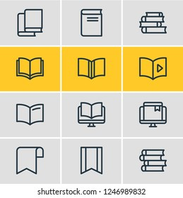Vector illustration of 12 book reading icons line style. Editable set of publishing, bookstore, ebook and other icon elements.