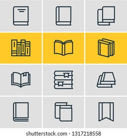 Vector illustration of 12 book reading icons line style. Editable set of encyclopedia, education, read and other icon elements.