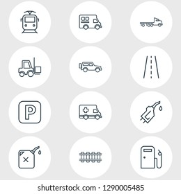 Vector illustration of 12 carrying icons line style. Editable set of road, gas station, flatbed truck and other icon elements.