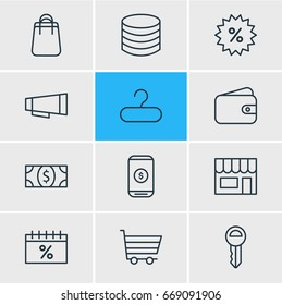 Vector Illustration Of 12 Commerce Icons. Editable Pack Of Mobile, Shopping, Pocketbook And Other Elements.