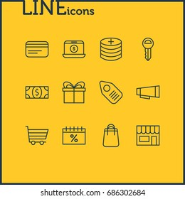 Vector Illustration Of 12 Commerce Icons. Editable Pack Of Advertising, Plus, Box And Other Elements.