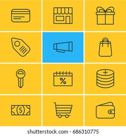 Vector Illustration Of 12 Commerce Icons. Editable Pack Of Shopping, Plus, Present And Other Elements.