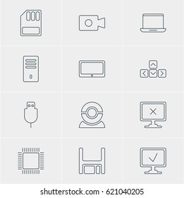 Vector Illustration Of 12 Computer Icons. Editable Pack Of Diskette, Online Computer, Movie Cam And Other Elements.