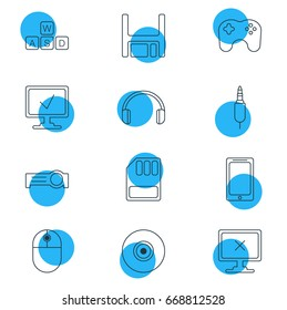 Vector Illustration Of 12 Computer Icons. Editable Pack Of Keyboard, Online Computer, Access Denied And Other Elements.