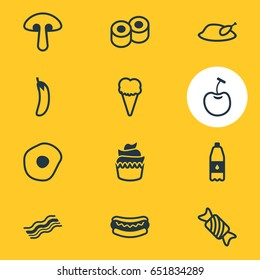 Vector Illustration Of 12 Cooking Icons. Editable Pack Of Street food, Sundae, Mushroom And Other Elements.