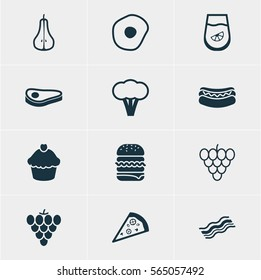 Vector Illustration Of 12 Cuisine Icons. Editable Pack Of Ham, Pizzeria, Duchess And Other Elements.