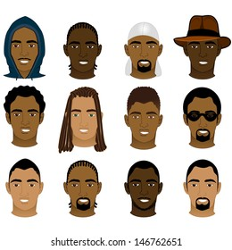 Vector Illustration of 12 different Black and Mixed Men Faces.