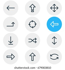 Vector Illustration Of 12 Direction Icons. Editable Pack Of Shrift , Randomize, Update Elements.