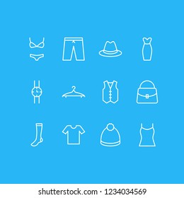 Vector illustration of 12 dress icons line style. Editable set of evening dress, panama, watch and other icon elements.