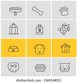 Vector illustration of 12 fauna icons line style. Editable set of kennel, turtle, pet medicine and other icon elements