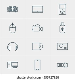 Vector Illustration Of 12 Gadget Icons. Editable Pack Of Loudspeaker, Smartphone, Cursor Controller And Other Elements.