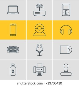 Vector Illustration Of 12 Gadget Icons. Editable Pack Of Game Controller, Usb Card, Photocopier And Other Elements.