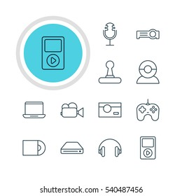 Vector Illustration Of 12 Hardware Icons. Editable Pack Of Camcorder, Photography, Dvd Drive And Other Elements.
