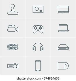 Vector Illustration Of 12 Hardware Icons. Editable Pack Of Photography, Dvd Drive, Game Controller And Other Elements.
