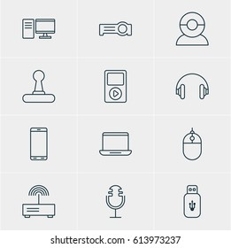 Vector Illustration Of 12 Hardware Icons. Editable Pack Of Headset, Sound Recording, Video Chat And Other Elements.