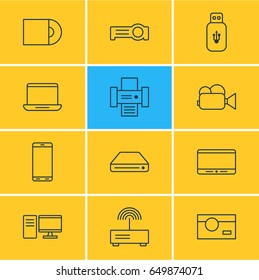 Vector Illustration Of 12 Hardware Icons. Editable Pack Of Smartphone, Photography, PC And Other Elements.
